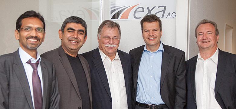 From left: Divya Vir Rastogi, Dr. Vishal Sikka, Harald Stuckert, Dr. Hartwig Hennighausen and Ulrich Gellert